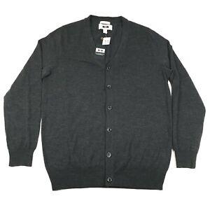NEW Joseph Abboud Cardigan Sweater Jumper Mens M Gray Extra Fine Merino Wool