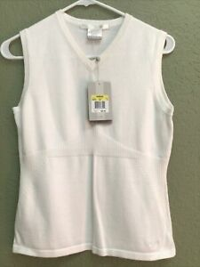 NEW Nike Golf EXTENSIBLE STRETCH Sleeveless WHITE Knit Sweater Shirt Top Womens