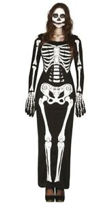 Womens Black Day of the Dead Costume Skeleton Dress Halloween Fancy Dress
