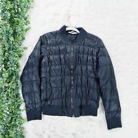 Athleta Women's Dobby Goose Down Bomber Winter Full-Zip Black Jacket - Size M