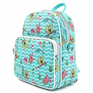 Loungefly x Nickelodeon Spongebob Jelly Fishing AOP Convertible Mini Backpack