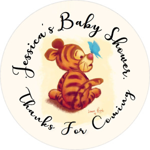 WINNIE THE POOH BABY SHOWER CUSTOM ROUND LABELS PARTY STICKERS FAVORS TIGGER