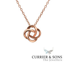 14ct Rose Gold-Plated 925 Sterling Silver Knot Pendant Necklace (45cm / 18 inch)