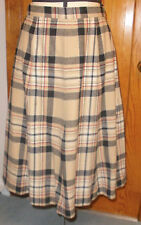 Pendleton A Line Wool Skirt in Beige & Black w/ Red - Size 13-14