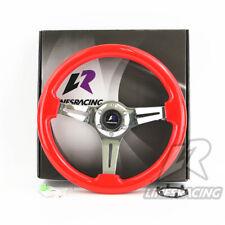 "LR Universal 14"" 350mm Wood Grain Steering Wheel 6 Bolts 1.75"" Dish 3-Spoke Red"