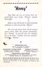 ST PETERSBURG FL WEDGWOOD INN HONEY GREETINGS EXPLANATION POSTCARD 1957