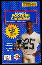 1991 AW Sports Football CFL Wax Pack Box All World Set