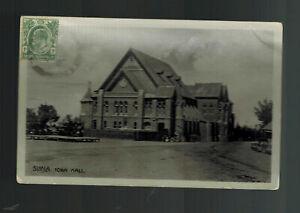 1909 Straits Settlement Singapore RPPC Postcard Cover Simla Town hall Local Use
