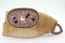 Women Gold Metal Skinny Fashion Belt Hip Waist Oval Lavender Purple Buckle S M
