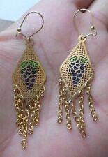 Boucles d'oreilles percées Bijou Vintage couleur or style oriental *4588