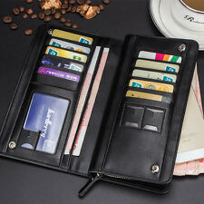 Men's Black Leather Business Long Zipper Wallet Card Holder Checkbook Purse US