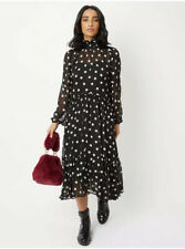 George Bnwt Black & White Spot Polka Dot Tiered Midi Dress Size 12