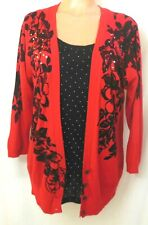 Cathy Daniels Sweater Top Faux Over Sweater XL Red Black ¾ Sleeve Studs VGUC