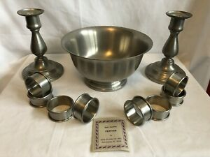 Vintage Lot of  Solid Pewter Items (2) Candlesticks, (1) Bowl, (8) Napkin Rings