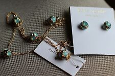Kate Spade Lady Marmalade Earrings and Necklace Aqua/Gold NWT RARE set pale teal