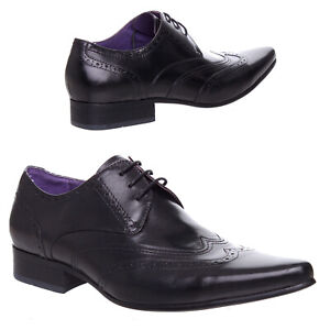 Mens Boys Leather Pointed Lace Up Formal Office Brogue Stitched Designer Shoes