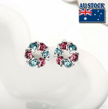 Wholesale Lovely White Gold Filled Clourful Cubic Zirconia Wreath Stud Earrings
