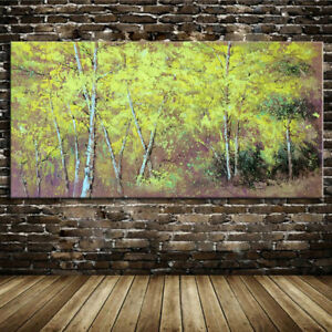 Large Abstract Autumn Woods Handmade Oil painting on Canvas Wall Art Home Decor