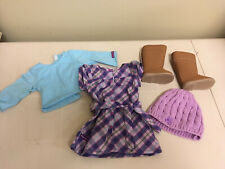 American Girl Pretty and Plaid Outfit Dress Beanie Boots 5pc