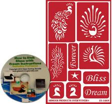 Peacock Reusable Vinyl Stencils: Peacocks & Peacock Feather Stencil Designs + CD