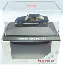 Herpa nº 100526 mercedes 600 SEC (c140), azul oscuro metalizado (PC) - en su embalaje original