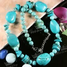 Women Howlite Turquoise Natural Stone Spacer Bead Statement Link Chain Necklace