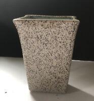 MCM Glidden 87 Pottery  Brown Speckled Pink Glaze Rectangular Vase