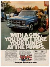 1981 GMC Pickup Vintage Original Print AD - Blue car photo gas pump station USA