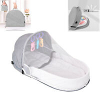 Portable Folding Baby Crib Nursery Infant Sleeping Bassinet Bed W/ Mosquito Net