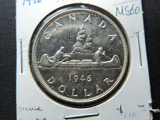 1946 $1 COIN CANADA KING GEORGE VI ONE DOLLAR .800 SILVER MS-60