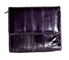 Lee Sands Eelskin Purple Coin Purse with ID Window, Key Ring and Mirror