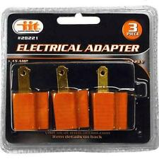 3 PACK Electrical Grounding Adapter Plug 15AMP 125 Volt 2 to 3 Prong IIT 28221