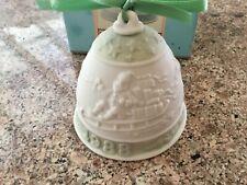 Vintage 1988 Lladro Porcelain Green Santa Sleigh Christmas Bell 5525