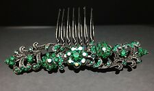 Formal Wedding Green Black Crystal Large Hair Comb Clip 8.7cm Long Silver Pin
