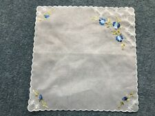 Vintage Hand Embroidered VOILE hankerchief with blue flowers