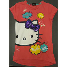 Girls Hello Kitty at George Short Sleeve Coral Top Sequins Glitter 10-11 Years