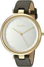 NWT Skagen Tanja Women's Green Leather Strap Gold Tone Watch SKW2483 $195 NIB