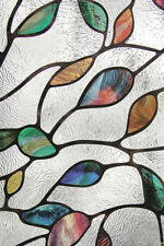New 24x36 NEW LEAF Stained Glass Privacy Static Cling Window Film White Decor