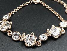 Gold Plated Fish Bracelet with Rhinestones, Rhinestone Bracelet, Lobster Clasp