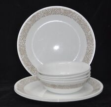 Lot Corning Corelle Bowls Soup Cereal & Dinner Plates Woodland Brown Pattern