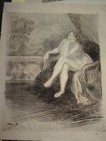 Oswald HEIDBRINCK (Bordeaux 1860-1914) EAU FORTE FEMME DENUDEE BELLE EPOQUE 1900