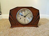 Antique 1920s/1930s Haller Art Deco Oak Inlaid Mantel Clock Westminster Chime