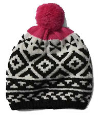 Gap NWT Black White Pink Fair Isle Pom Pom Merino Wool Blend Winter Hat $30