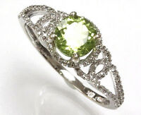 1.15 ct tw Natural Green Peridot & Diamond 14k White Gold Halo Solitaire Ring