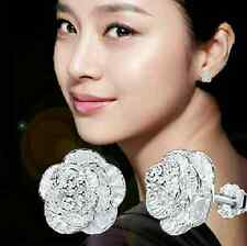 wholesale 925 silver rose flower earrings ear stud girl women fashion jewelry