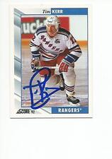 TIM KERR Autographed Signed 1992-93 Score card New York Rangers Flyers COA