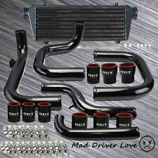 "BOLT ON 2.5"" ALUMINUM TURBO INTERCOOLER PIPING KIT BLACK 92-95 CIVIC EG SSQV BOV"