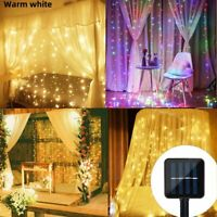 3M 200 LED/300LED Solar Power Curtain Lights Fairy String Outdoor Party Garden