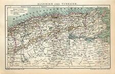 1901 ALGERIA and TUNISIA Antique Map dated
