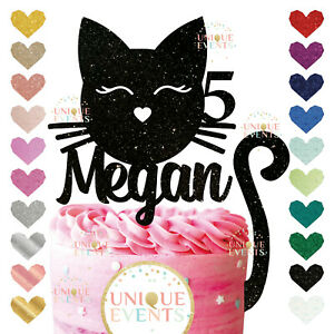 Cat cake topper personalised glitter customised any name age Cat Tail Kit Black